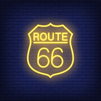 Route sixty six badge. neon style on brick background. usa banner.