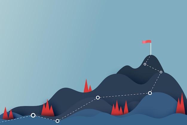 산 꼭대기에 있는 붉은 깃발로 가는 길입니다. 산봉우리 극복입니다. 목표 달성과 비즈니스 성공 개념입니다. 종이 예술 벡터 그림입니다.