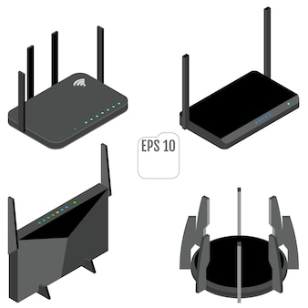 Router isometric icons set. set of wifi router icons for web design. isolated