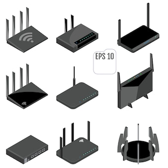 Router isometric icons set.