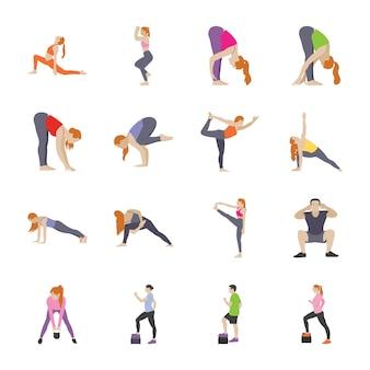 Рутинные упражнения плоские иконки