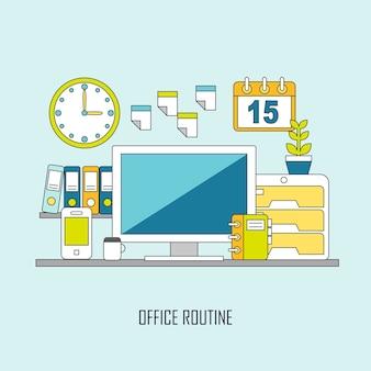 평평한 얇은 선 스타일의 일상적인 사무실 및 비즈니스 라이프 스타일