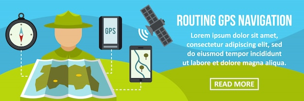 Routing gps navigation banner horizontal concept