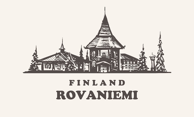 Рованиеми, финляндия старинные иллюстрации, рисованной здания рованиеми на белом фоне.