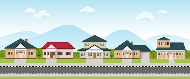 Row of house neighborhood. residential buildings on suburban street.