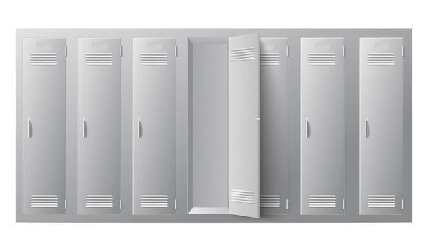 閉じたドアと開いたドアのある金属製の学校またはジムのロッカー