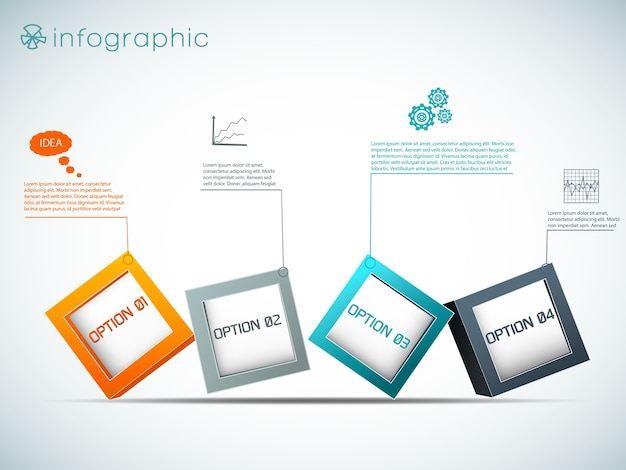 Row of options infographics with colorful cubes charts and setting on white background