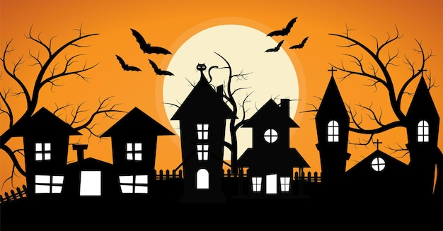 Row of spooky house with spooky tree and bat halloween background