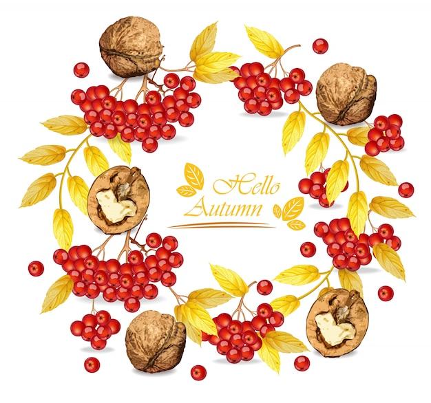 Rowan berries and walnuts wreath