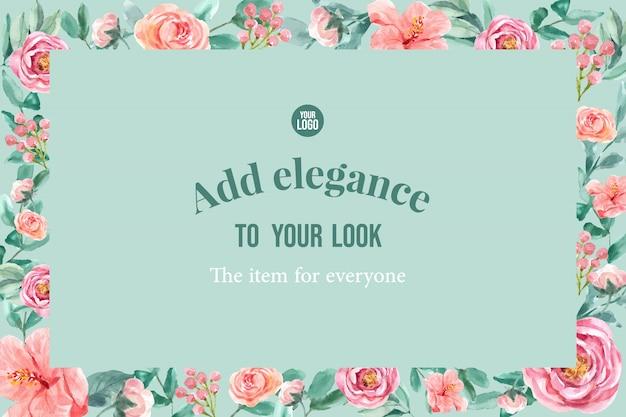 牡丹、rowanberry、花の魅力的なフレームは、水彩イラストを残します。