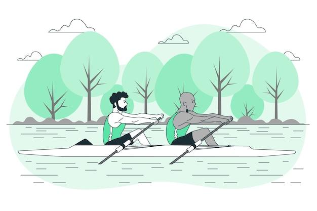 Иллюстрация концепции гребли