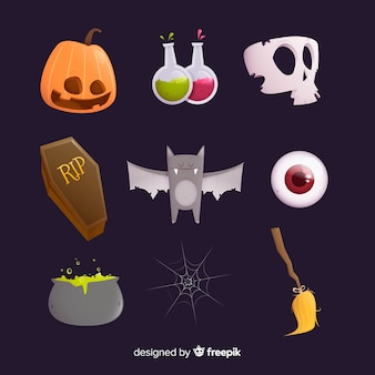 Rows and columns of flat halloween element collection