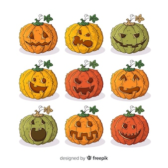 Rows and columns of hand drawn halloween pumpkin collection