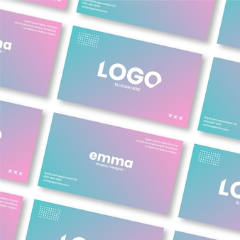 Rows and columns of pastel gradient business cards