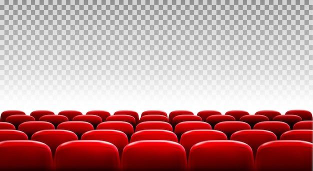 透明な背景の前にある赤い映画館または劇場の座席の列。ベクター