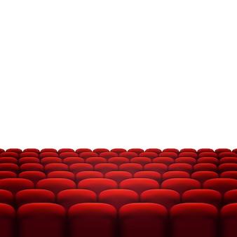 빨간 영화관 또는 극장 좌석 흰색 배경에 고립의 행. 프리미엄 벡터