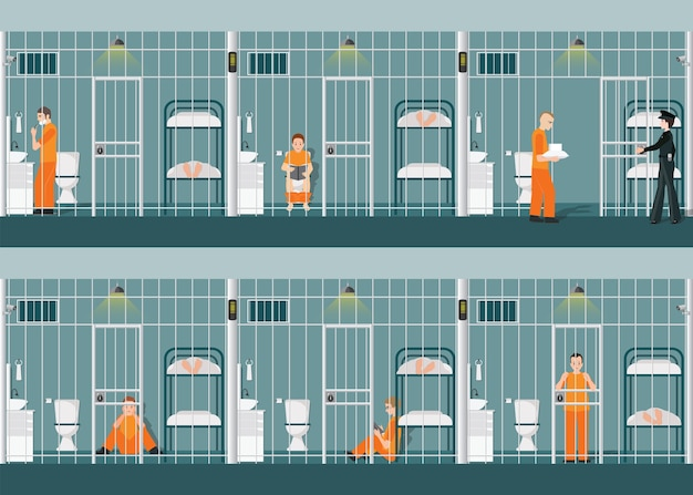 Rows of prison cells with life in jail
