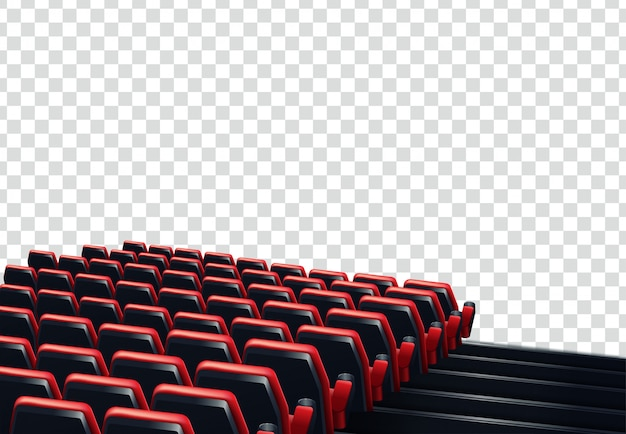 Rows of red cinema or theater seats in front of transparent background