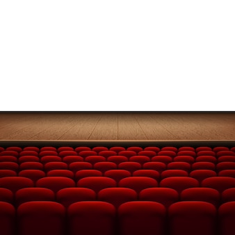 Rows of red cinema or theater seats isolated on white background.