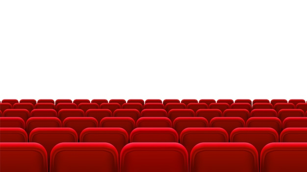 Rows of red seats, back view. empty seats in the cinema hall, cinema, theater, opera, events, shows. interior element. realistic 3d illustration.