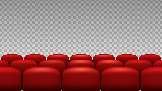 Rows seats. red theater movie opera seats isolated on transparent background.