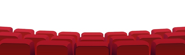 Rows of theater movie or cinema seats isolated on white