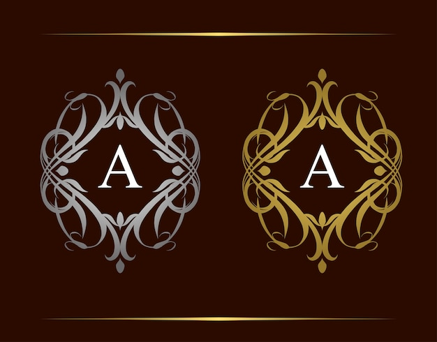 ロイヤルバッジa文字ロゴ。美しい上品な花飾りの高級ヴィンテージエンブレム。ビンテージフレーム。