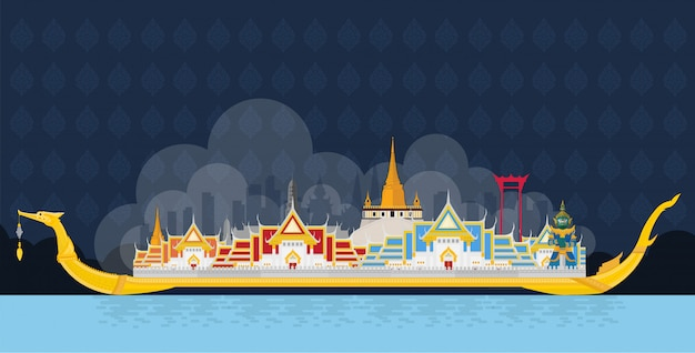 The royal barge suphannahong and famous landmarks