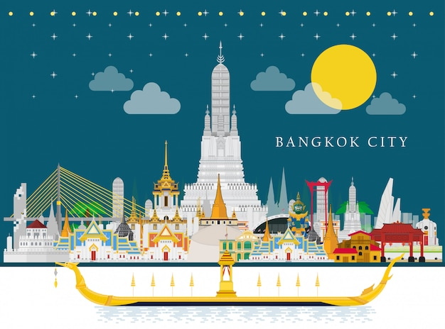 The royal barge suphannahong and thailand landmarks