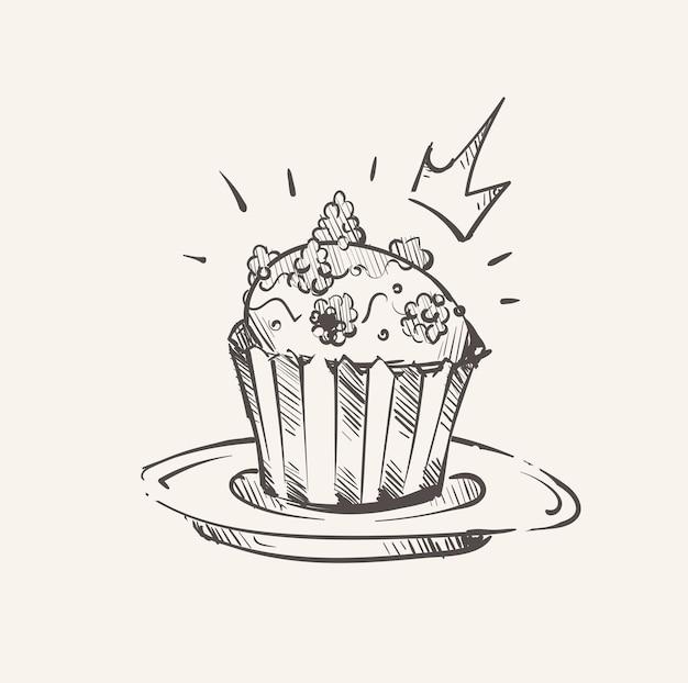 ロイヤルベリーカップケーキスケッチ