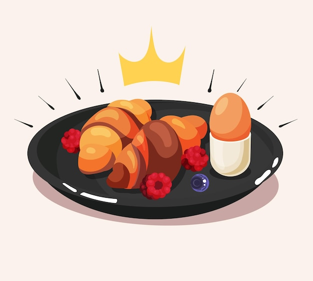 크로와상 계란과 딸기 만화 벡터 아이콘 일러스트와 함께 왕실 아침 식사