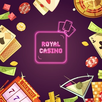 Royal casino with slot machine illustration
