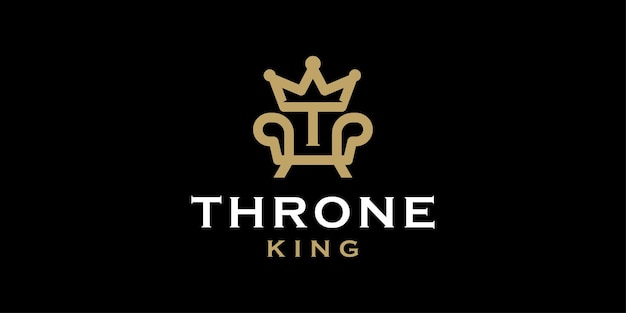 Royal chair with initial t and crown for throne logo