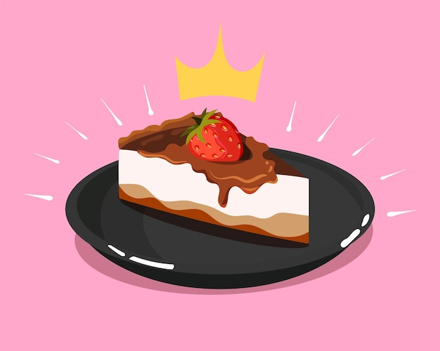 Royal cheesecake with chocolate and strawberries cartoon vector icon illustration