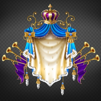 Royal coat of arms 3d realistic vector isolated on transparent background