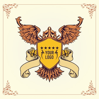 Royal coat of arms logo, winged crowns shield vector