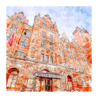 王立音楽大学ロンドン水彩スケッチ手描きイラスト