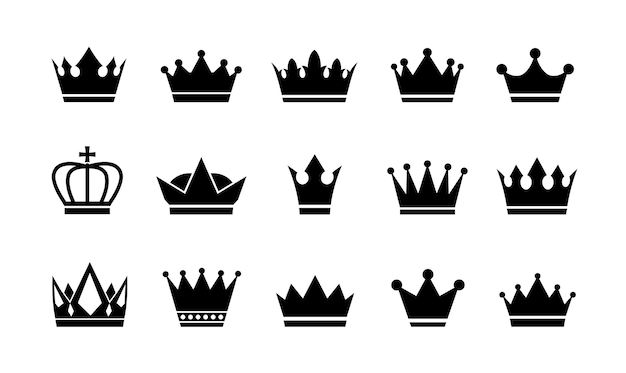 Royal crown icons collection set. big collection crowns.
