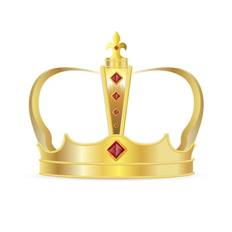ロイヤルクラウン。赤いルビーの宝石アイコンが付いた現実的なロイヤルゴールドクラウン。王または女王の王冠、中世の権威のシンボルの装飾