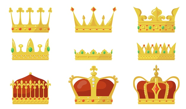 Royal crown set. king or queen authority symbol, gold jewel for prince and princess.