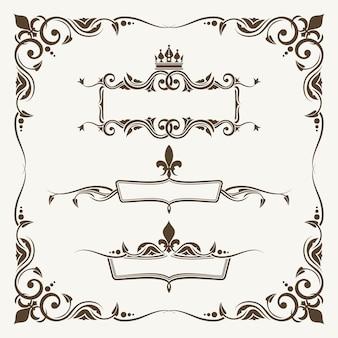 Royal crowns and fleur de lys ornate frames