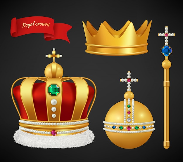 Royal crowns. luxury premium medieval gold symbols of monarchy scepter antique diadem diamonds and jewels realistic pictures
