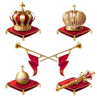 Royal crowns, scepter and orb realistic