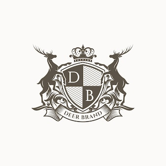 Royal deer crest logo template