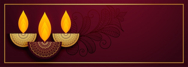 Royal diya  for happy diwali festival banner