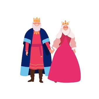 왕실 가족 평면 벡터 일러스트 레이 션. 중세 여왕과 왕이 역사적인 의상을 입은 만화 캐릭터를 웃고 있습니다. 왕국 통치자, 군주제 부부 흰색 배경에 고립. 황제와 황후.