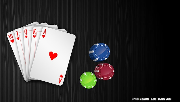 Royal flush cards with colorful poker chips