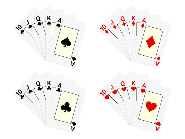 Royal flush playing cards set for poker and casino.