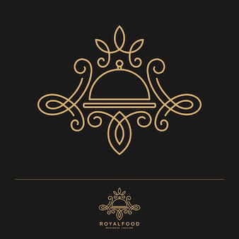 Royal food. luxury restaurant logo template Premium Vector