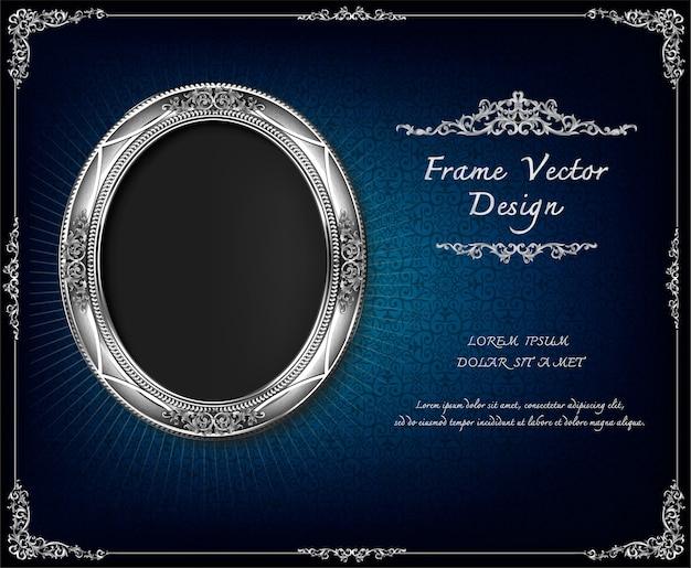 Royal frame on drake blue pattern background
